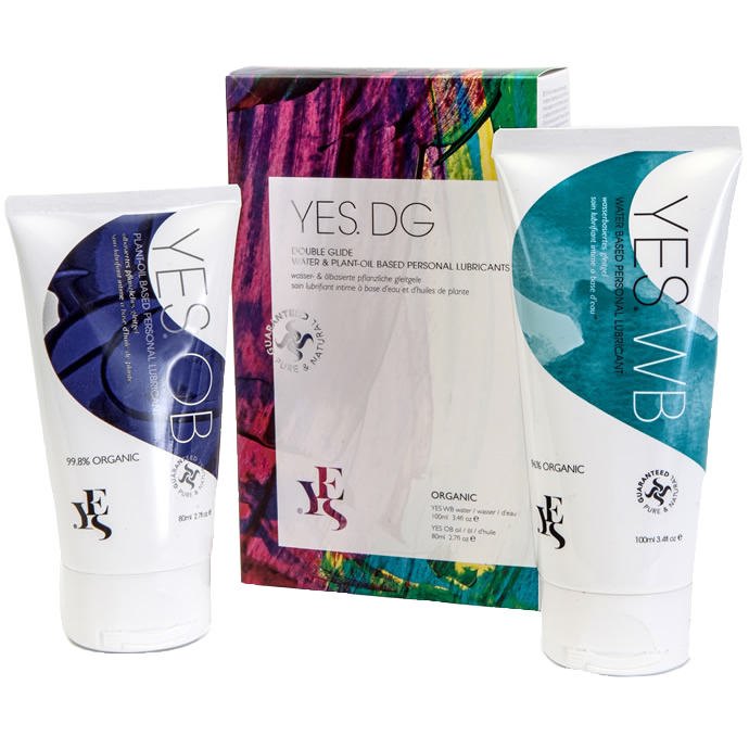 YES Double Glide pack with plant-oil based and water based 100ml tubes