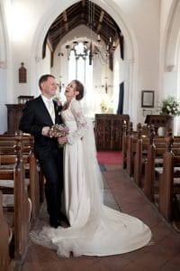 Bride and groom in a church