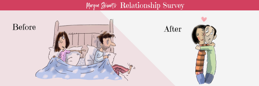 Cartoon with a before/after image of a couple on relationship issues