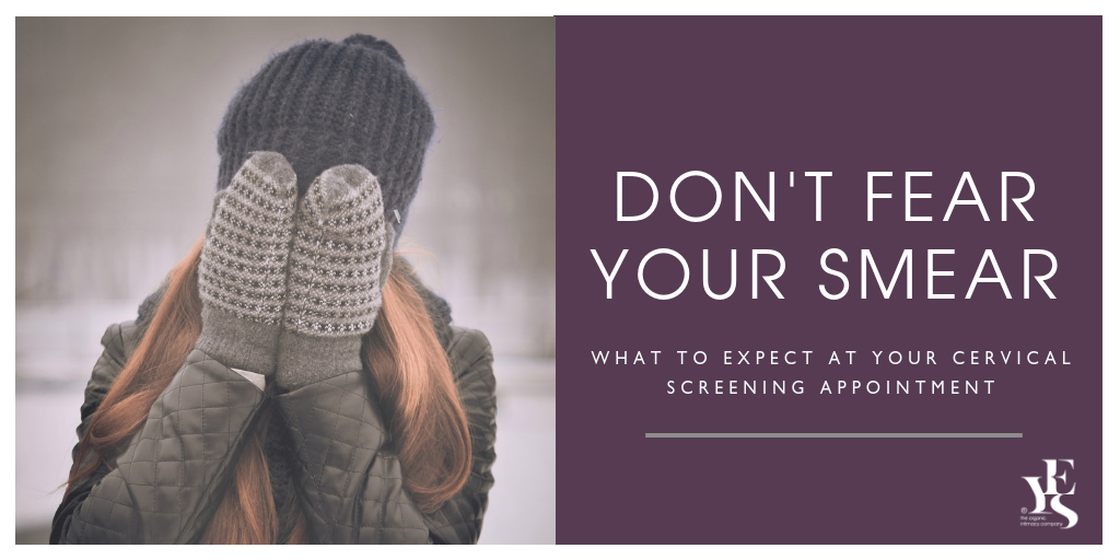 Don't fear your smear test - woman hiding her face with her hands in mittens