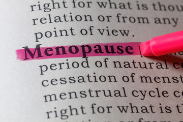 menopause highlighted in the dictionary
